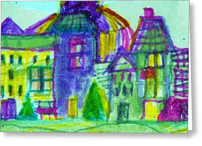 Town Mixed Media Greeting Cards - Teeny Tiny Town Greeting Card by Anne-Elizabeth Whiteway