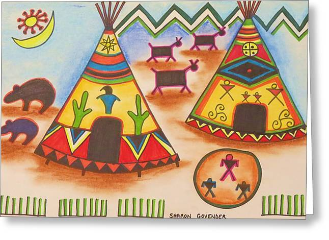 Indian Dwelling Greeting Cards - Teepee 1 Greeting Card by Vijay Sharon Govender