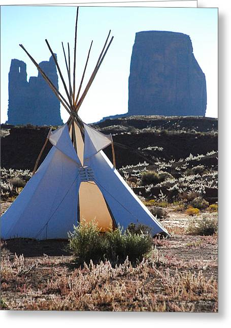 Geobob Greeting Cards - Teepee and Silhouette of Bear and Rabbit Summit and Buttes in Monument Valley Utah Greeting Card by Robert Ford
