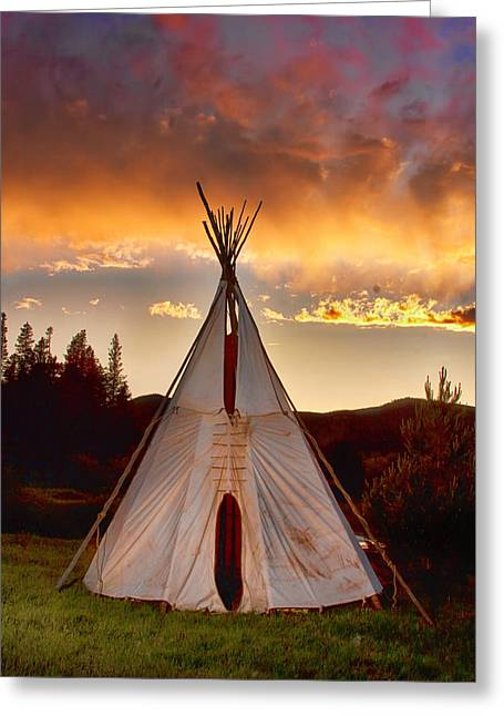 Western Culture Greeting Cards - Teepee Sunset Portrait Greeting Card by James BO  Insogna