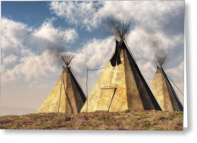 Nez Perce Greeting Cards - Teepees Greeting Card by Daniel Eskridge