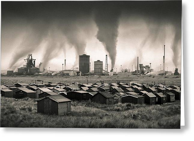 Manufacturing Greeting Cards - Teesside Steelworks 1 Greeting Card by Dave Bowman