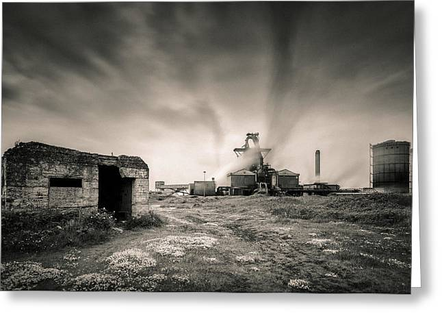 Burning Greeting Cards - Teesside Steelworks 2 Greeting Card by Dave Bowman