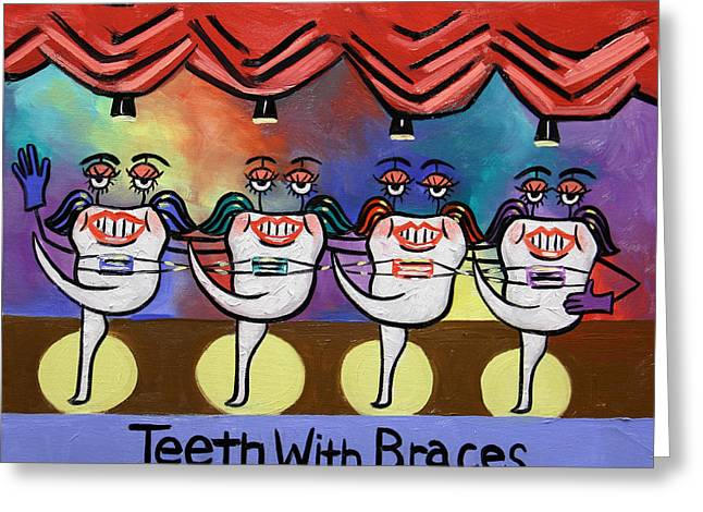 Fine Art Prints Framed Prints Greeting Cards - Teeth With Braces Dental Art By Anthony Falbo Greeting Card by Anthony Falbo