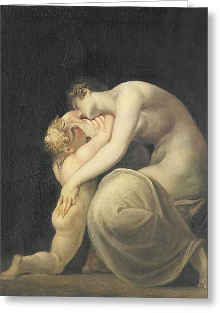 Greek Photographs Greeting Cards - Tekemessa And Eurysakes, C.1800-10 Oil On Canvas Greeting Card by Henry Fuseli
