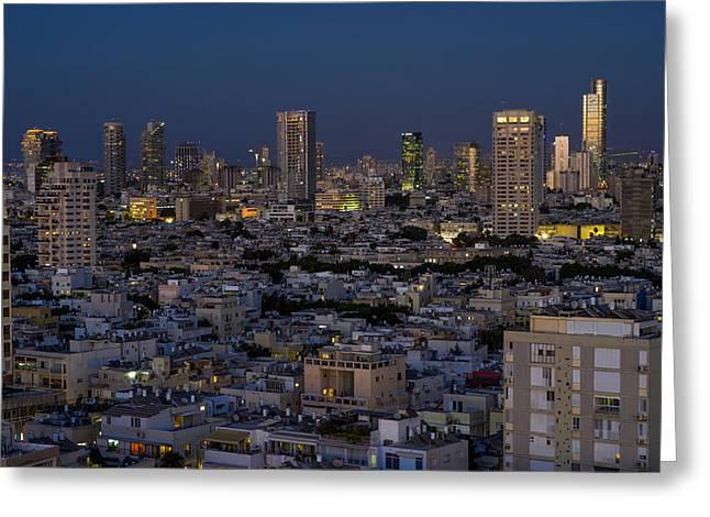 Ronsho Greeting Cards - Tel Aviv at the twilight magic hour Greeting Card by Ron Shoshani