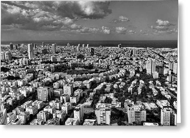 Tel Aviv Center Black And White Greeting Card by Ron Shoshani
