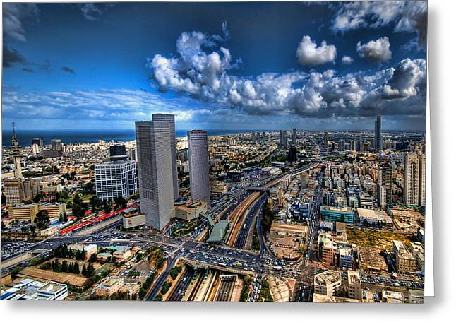 Kabbalistic Greeting Cards - Tel Aviv center skyline Greeting Card by Ron Shoshani