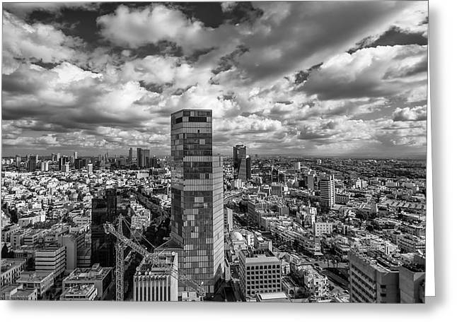 Israeli Digital Greeting Cards - Tel Aviv high and above Greeting Card by Ron Shoshani