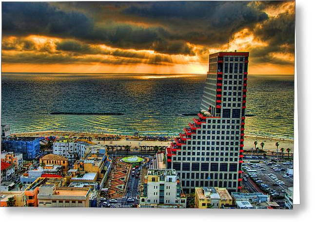 Israeli Digital Greeting Cards - Tel Aviv Lego Greeting Card by Ron Shoshani