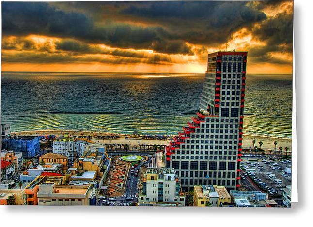 Tel Aviv Lego Greeting Card by Ron Shoshani