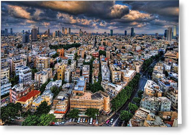 Best Sellers -  - Sunset Posters Greeting Cards - Tel Aviv lookout Greeting Card by Ron Shoshani