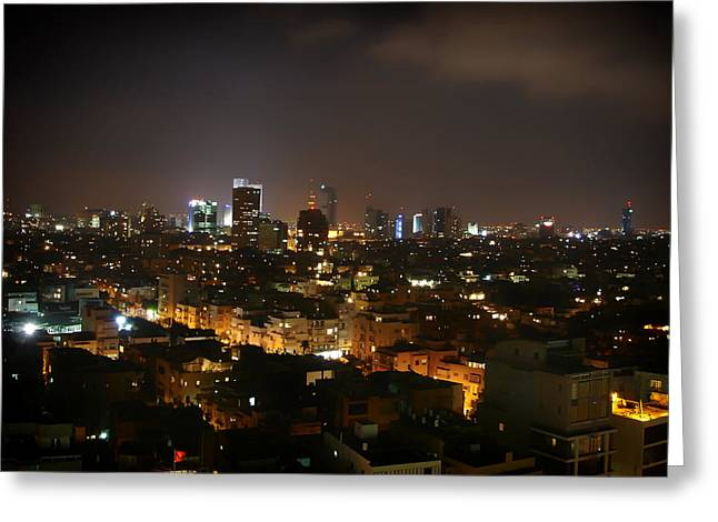 Tels Greeting Cards - Tel Aviv Night Lights Greeting Card by Mountain Dreams