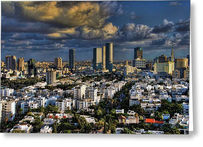 Sydney Greeting Cards - Tel Aviv Skyline Fascination Greeting Card by Ron Shoshani