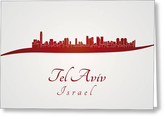 Tels Greeting Cards - Tel Aviv skyline in red Greeting Card by Pablo Romero