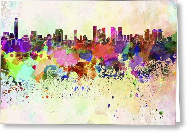 Tels Greeting Cards - Tel Aviv skyline in watercolor background Greeting Card by Pablo Romero