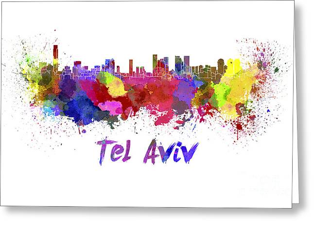 Tels Greeting Cards - Tel Aviv skyline in watercolor Greeting Card by Pablo Romero