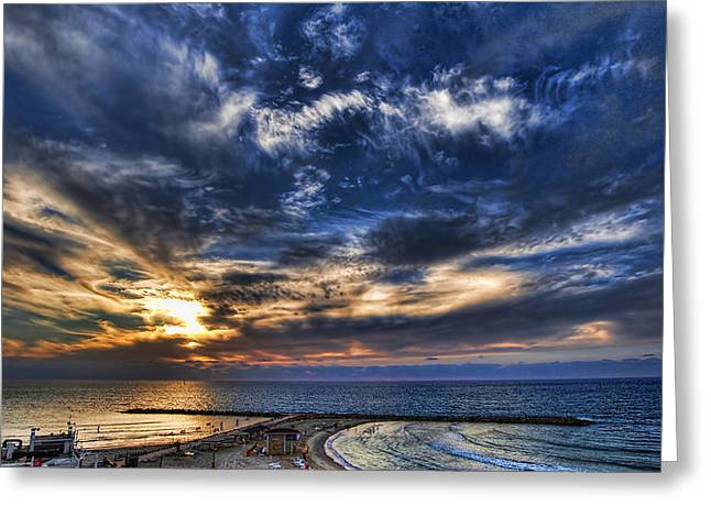 Tel Aviv sunset at Hilton beach Greeting Card by Ron Shoshani