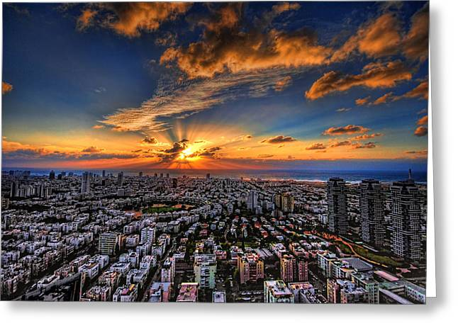 Best Sellers -  - Sunset Posters Greeting Cards - Tel Aviv sunset time Greeting Card by Ron Shoshani