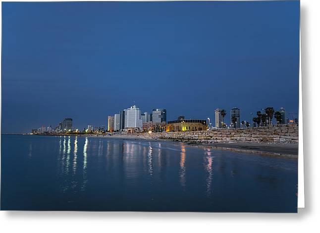 Miztvah Greeting Cards - Tel Aviv the blue hour Greeting Card by Ronsho