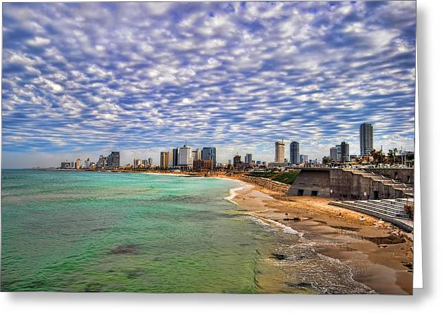 Israeli Digital Greeting Cards - Tel Aviv turquoise sea at springtime Greeting Card by Ron Shoshani