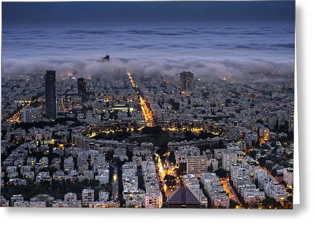 Miztvah Greeting Cards - Tel Aviv Under Fog  Greeting Card by Ronsho