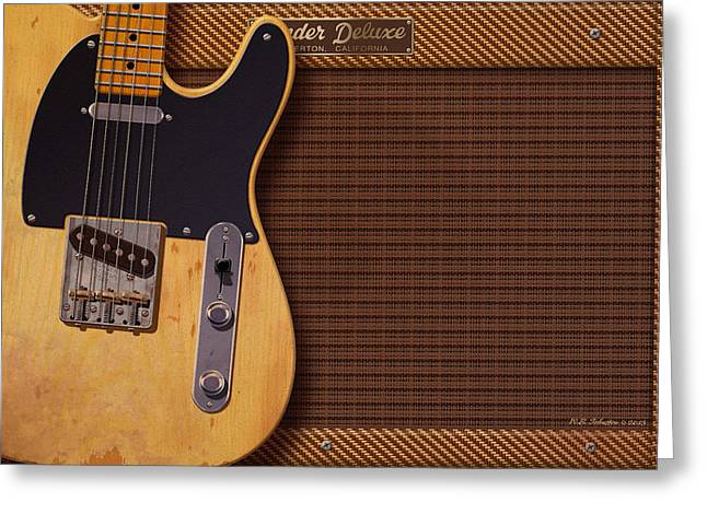 Wb Johnston Greeting Cards - Telecaster Deluxe Greeting Card by WB Johnston