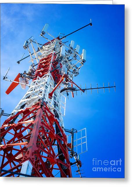 Broadcast Antenna Greeting Cards - Telecommunication tower Greeting Card by Sinisa Botas