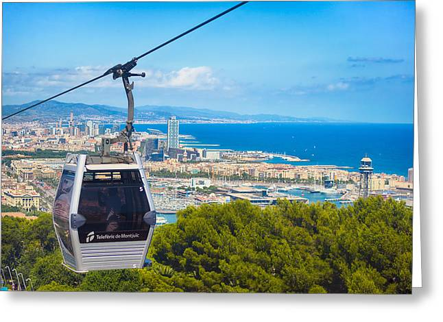 Aerial Tramway Greeting Cards - Teleferic de Montjuic Greeting Card by Alejandro Tejada