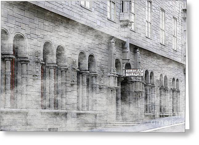 Oslo Greeting Cards - Telegraf Building in Foggy Oslo Greeting Card by Sophie Vigneault
