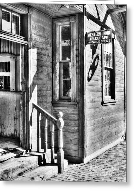 Train Depot Greeting Cards - Telegraph And Cable Office BW Greeting Card by Mel Steinhauer