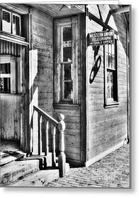 Telegraph And Cable Office Bw Greeting Card by Mel Steinhauer