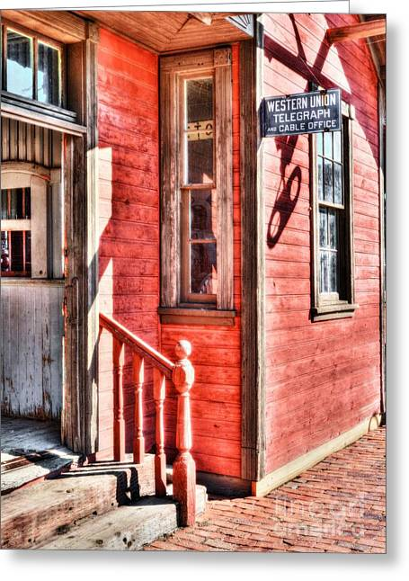 Train Depot Greeting Cards - Telegraph and Cable Office Greeting Card by Mel Steinhauer
