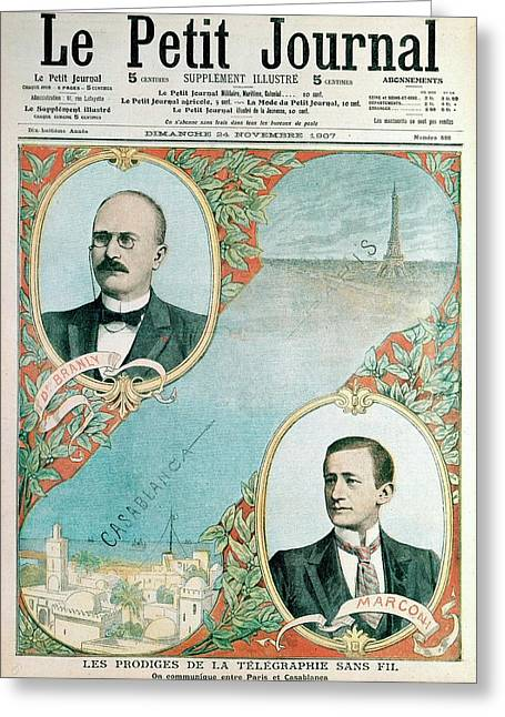 Telegraph Between Paris And Casablanca Greeting Card by Universal History Archive/uig