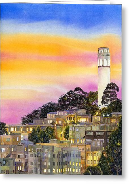 Coit Tower Greeting Cards - Telegraph Hill Greeting Card by Karen Wright