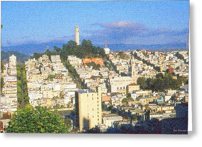 Urban Images Drawings Greeting Cards - Telegraph Hill San Francisco Greeting Card by Peter Fine Art Gallery  - Paintings Photos Digital Art