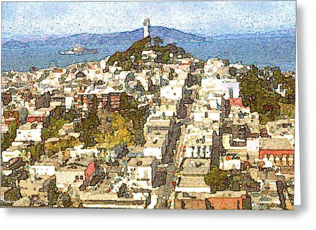 White Frame House Drawings Greeting Cards - Telegraph Hill San Francisco - Watercolor Drawing Greeting Card by Peter Fine Art Gallery  - Paintings Photos Digital Art