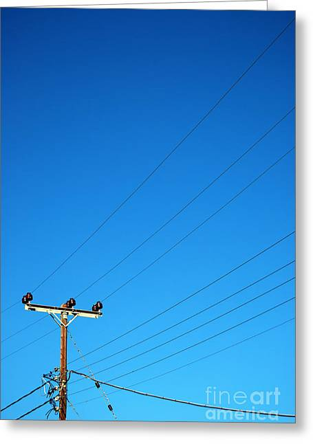 Transmit Messages Greeting Cards - Telegraph pole Greeting Card by Antony McAulay