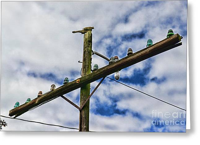 Is The Way Greeting Cards - Telegraph Pole - Yesterdays Technology Greeting Card by Paul Ward