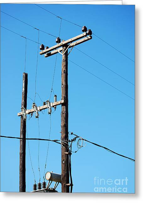 Transmit Messages Greeting Cards - Telegraph poles Greeting Card by Antony McAulay