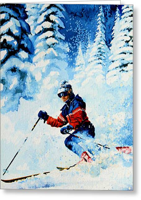 Skiing Poster Greeting Cards - Telemark Trails Greeting Card by Hanne Lore Koehler