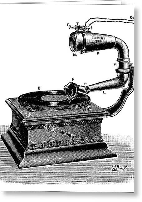 Telemicrophonograph Greeting Card by Science Photo Library