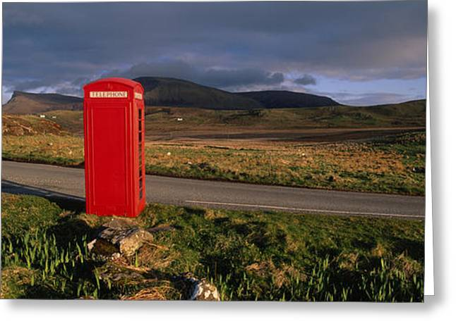 Telephone Booth Greeting Cards - Telephone Booth In A Landscape, Isle Of Greeting Card by Panoramic Images