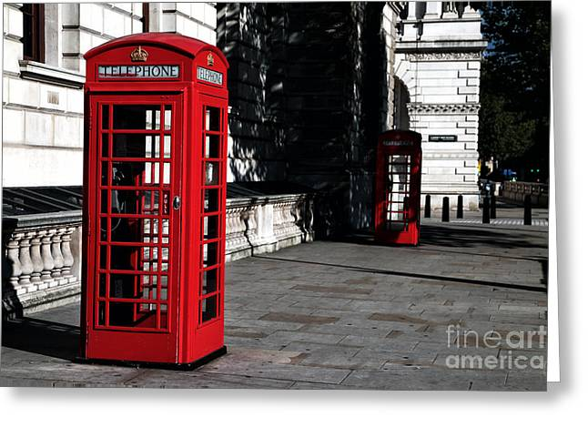 Telephone Booth Greeting Cards - Telephone Booths Greeting Card by John Rizzuto