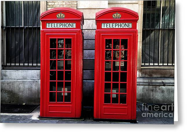 Telephone Booth Greeting Cards - Telephone Couple Greeting Card by John Rizzuto