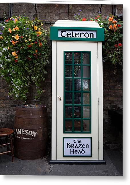 Historic Buildings Images Greeting Cards - Telephone Kiosk, The Brazen Head Pub Greeting Card by Panoramic Images