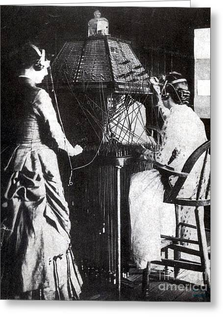Breakthrough Greeting Cards - Telephone Operators, 1884 Greeting Card by Science Source