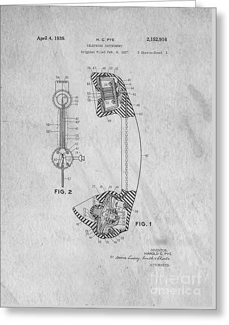 Patent Drawings Greeting Cards - Telephone Patent Art Greeting Card by Edward Fielding