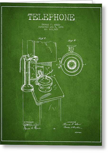 Calling Greeting Cards - Telephone Patent Drawing From 1898 - Green Greeting Card by Aged Pixel