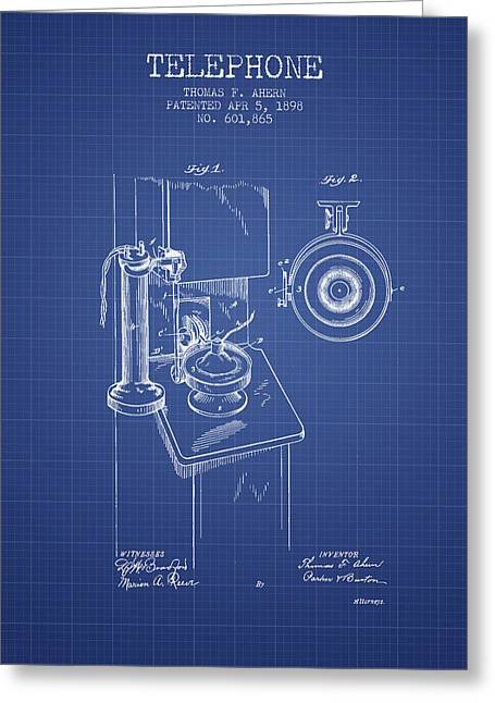Calling Greeting Cards - Telephone Patent From 1898 - Blueprint Greeting Card by Aged Pixel